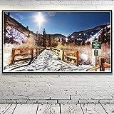 N / A Rahmenlose Malerei Schnee Bergbaum Landschaft Rock Art Seide Poster Home Decoration55X100cm