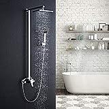 AuraLum Conjunto de Ducha Monomando - Set de ducha con 20x20cm Rociador Ducha + Ducha de Mano, Latón Cromo, Sin Termostato