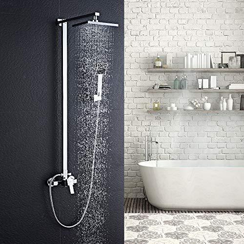 Auralum Sistema de ducha sin grifo, set de ducha con 20 x 20 cm, alcachofa de ducha + alcachofa de mano, montaje en pared, latón cromado