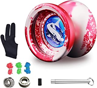 MAGICYOYO Responsive Yoyo T9 for Beginners with Replacement Unresponsive Yoyo Bearing for Advanced Players, Bonus Bearing Tool and Yo-Yo Glove Gift (Red)
