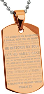 Stainless Steel Psalms 23 Bible Verse Dog Tag Pendant Necklace