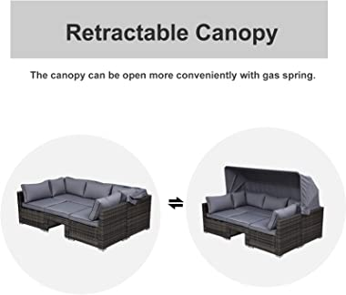 Outsunny 4-Piece Outdoor Rattan Wicker Sofa Set with Retractable Sun Canopy, Deep Soft Cushions, & Classic Design, Grey