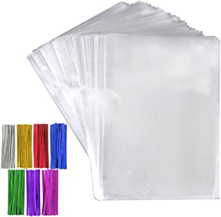 Tomnk 300pcs 6.3 x 9 Inches Clear Treat Bags Cellophane Bags with 300 Twist Ties in 7 Mix Colors for Candy Bread Chocolate Jelly Bakery