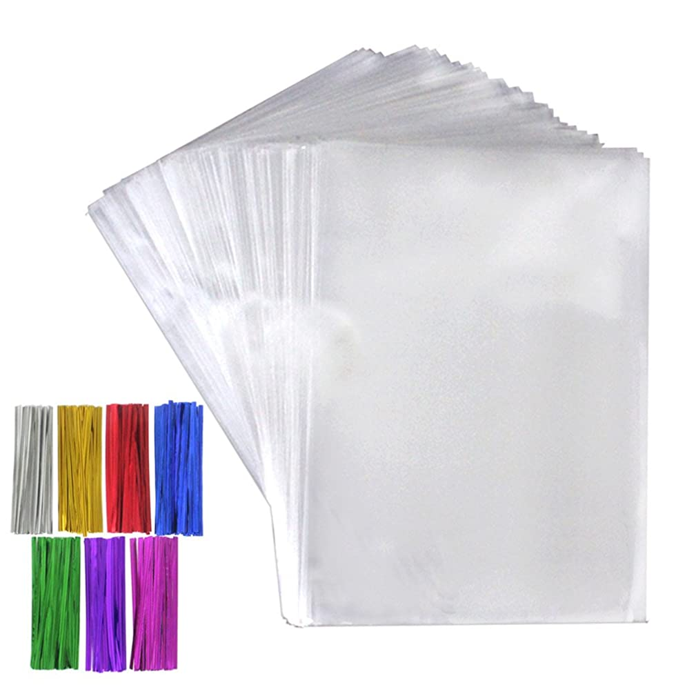 Tomnk 300 Pcs Clear Treat Bags Cellophane Bags(6.3