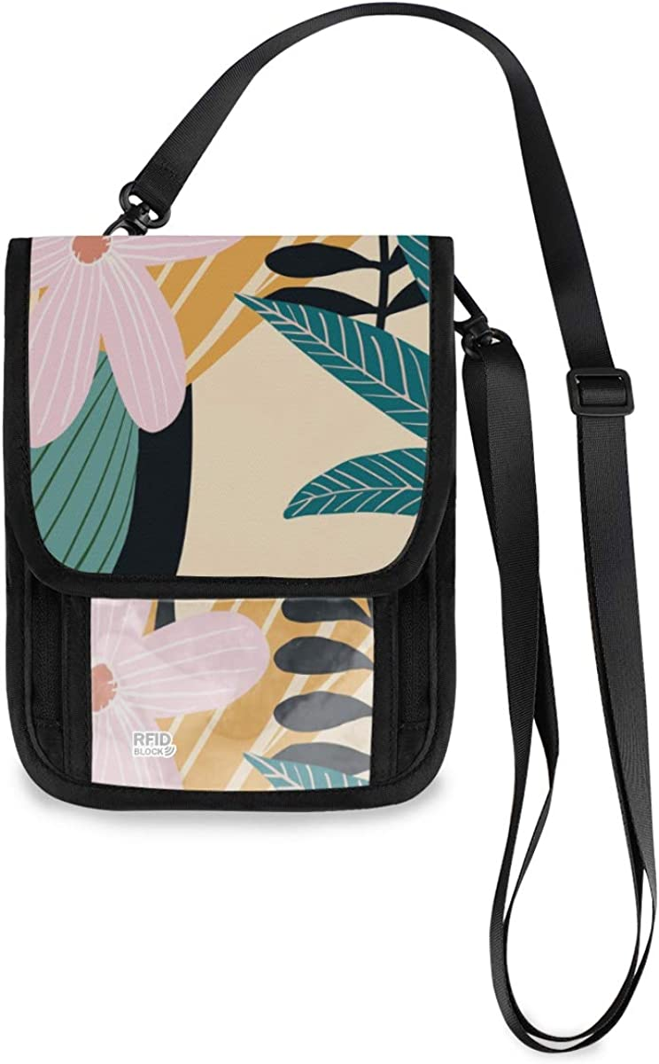 VIKKO New York Mall Tropical Forest Leaves Gorgeous Travel Wallet Block With Neck RFID