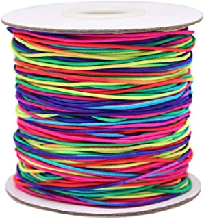 Elastic Cord Rainbow, INTVN Rainbow Color Elastic Cord Beading Cord Thread Stretch Fabric Crafting String for Jewelry Making
