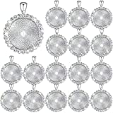 32 Pieces Rhinestone Bezel Pendant Trays Blanks Cabochon Pendant Setting DIY Trays for Crafts Jewelry Making Projects (Silver)