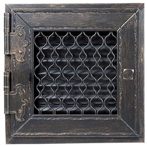 Warmluftgitter Retro Graphit Ofen 23,8x23,8 cm mit Tür Kaminofen Kamin Heizeinsatz