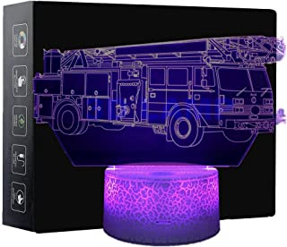 3D Night Light Illusion Lamp Fire Truck Shape Touch Table Lighting 7 Colors Changing LED Light Car Pattern Table Lamps Childrenroom Theme Decoration and Kiddie Family Holiday Gift (Fire Truck)