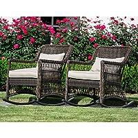 2-Pack Leisure Made Pearson Dark Brown Wicker Outdoor Rocking Chair