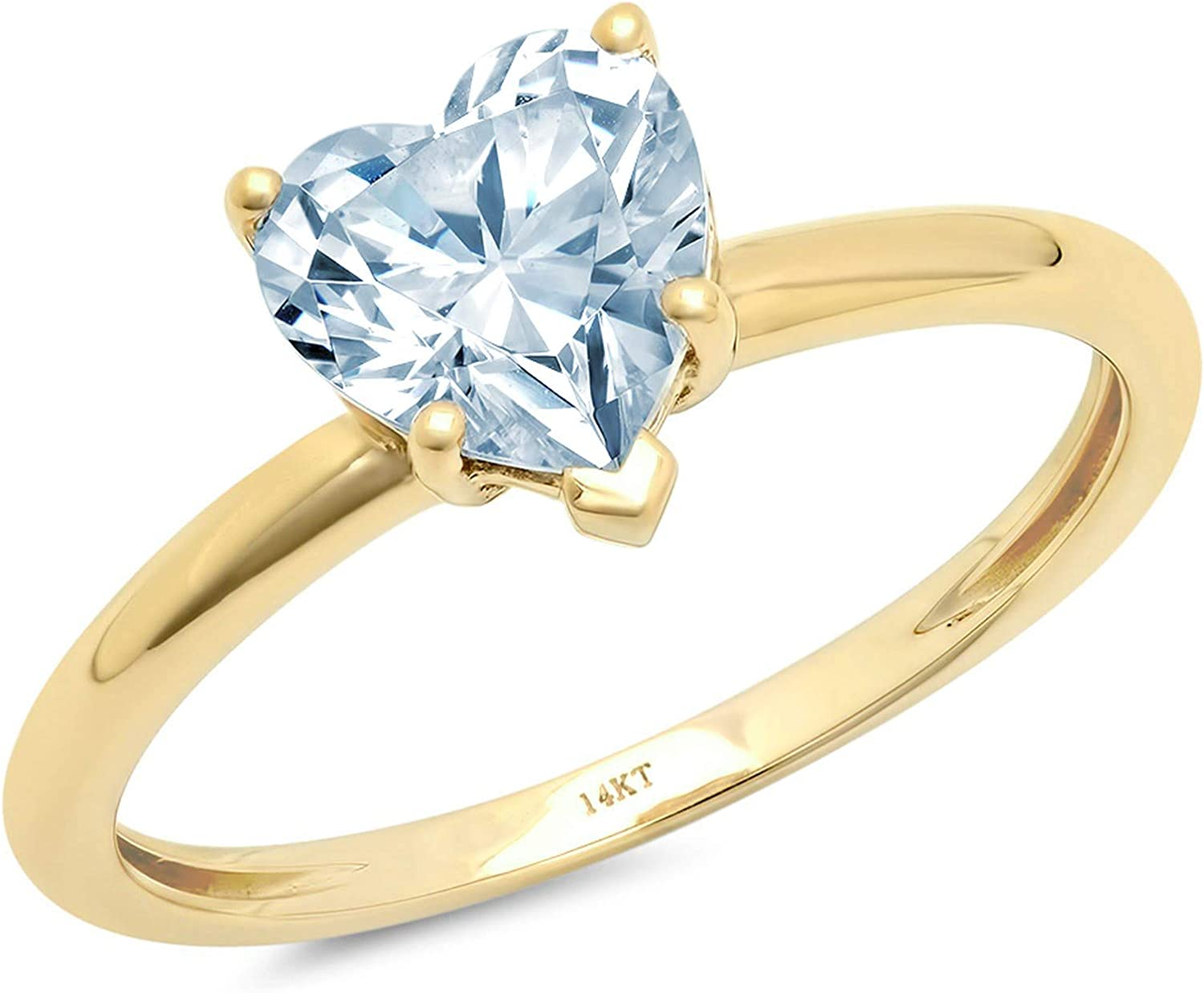 1.9ct Brilliant Heart Cut Solitaire Aquamarine Blue Simulated Diamond Cubic Zirconia Ideal VVS1 D 5-Prong Engagement Wedding Bridal Promise Anniversary Ring Solid 14k Yellow Gold for Women