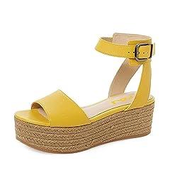 b1e35106702 FSJ Women Chic Open Toe Platform Wedge High Heel Espadrilles .
