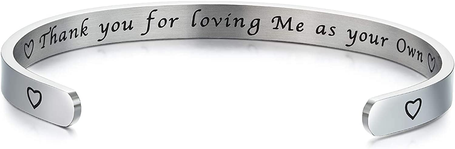 Step Mom Gifts from Daughter Son, Mother in Law Gifts, Thank You for Loving Me As Your Own Cuff Bracelet, Mothers Day Gifts for Step Mother