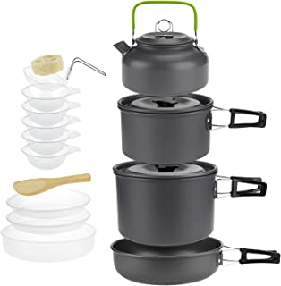 ARAER Camping Cookware Set, 10pcs:2-3 Person/16pcs:4-5...
