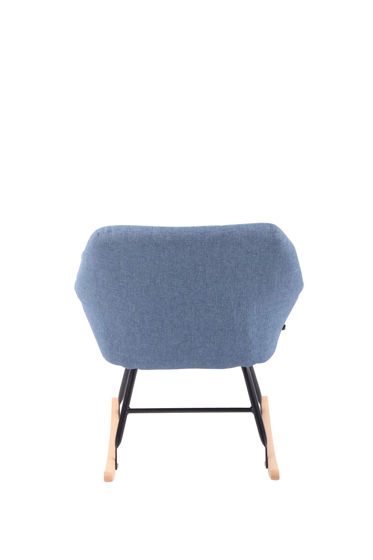 CLP Sedia a Dondolo Design Cabot in Tessuto Poltrona Oscillante Deco Grigio Poltrona Dondolo Relax Imbottita Design Scandinavo