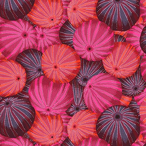 Kaffe Fassett Stoff, 0,5 m, 100 % Baumwolle Fs105 Sea Urchins Red - Philip Jacobs/Kaffe Fassett