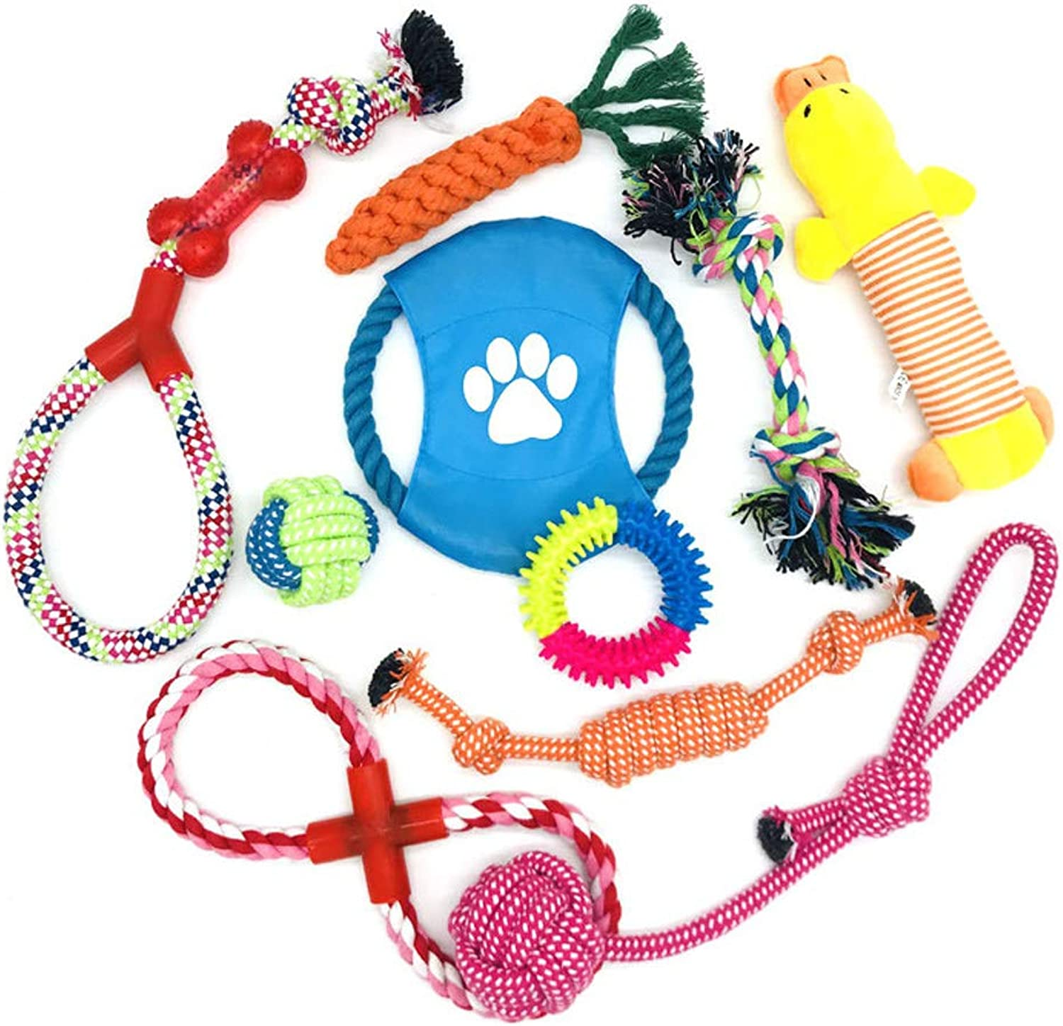 Combination 9Piece Interactive Dog Rope Chew Toys Set, Hand Pet Puppy Braided Cotton Toys, NonToxic Health Teeth Cleaning for Small Medium Dogs