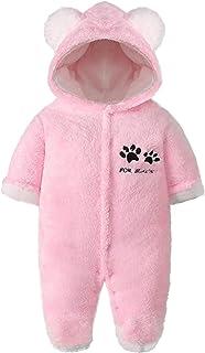 Bebé Mameluco con Capucha Traje de Nieve Niñas Niños Recien Nacido Manga Larga Invierno Monos Pijama Peleles Ropa 0-12 Meses