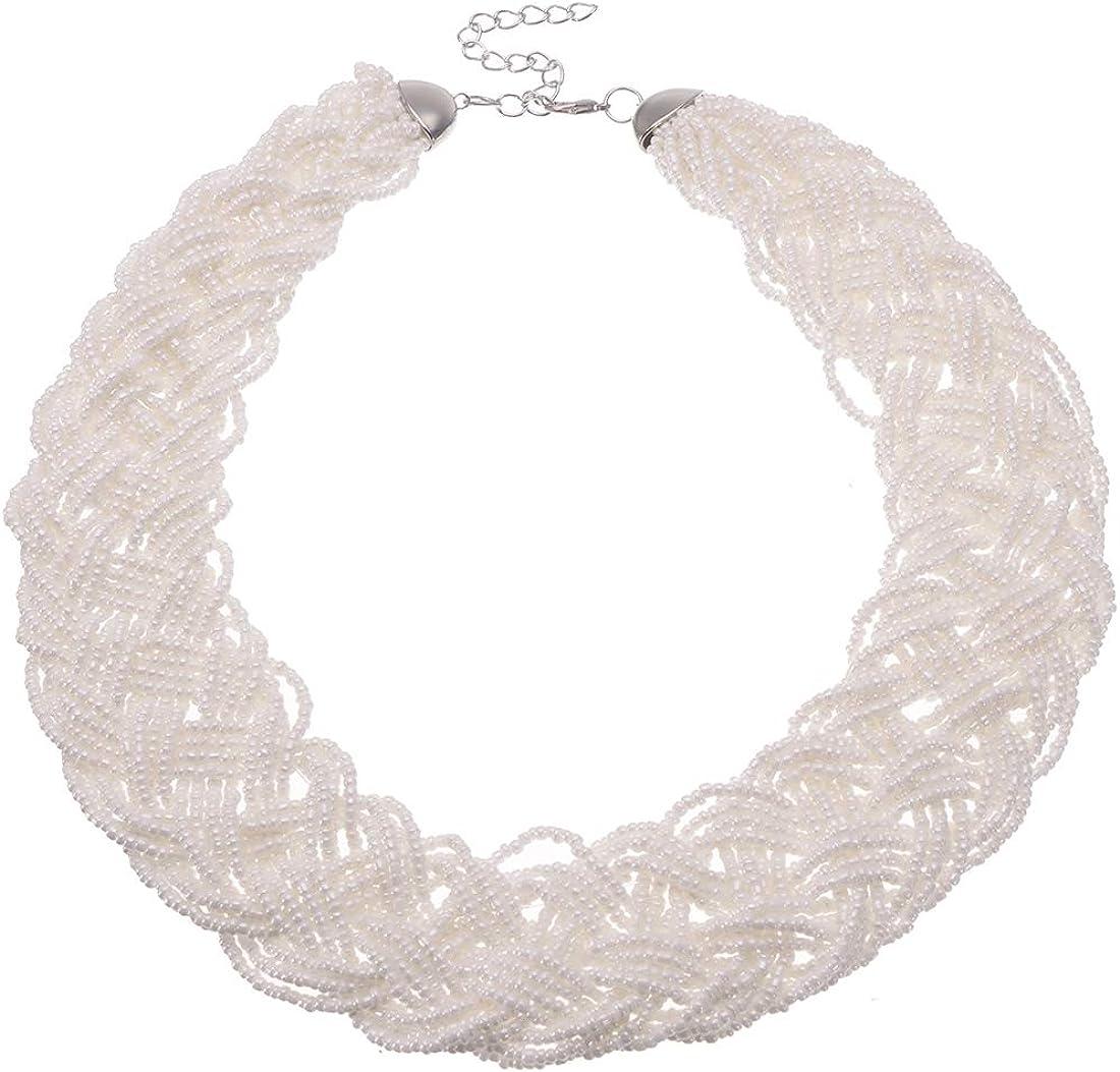 Mozhuo Retro Style Statement Bib Necklace for Women Fashion Costume Jewelry White Beaded Choker Necklaces