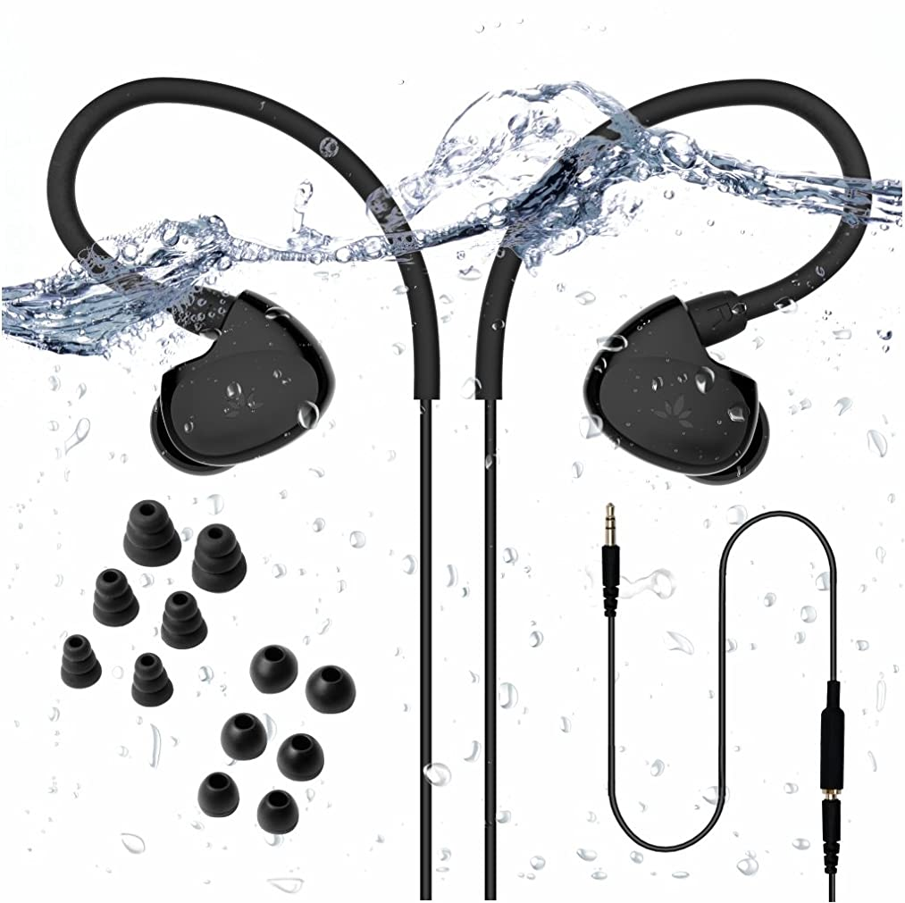 Avantree [2019 Version] Secure Fit Waterproof Earbuds for Swimming, Headphones for Running/Runners, Sports, Diving, Surfing, IPX7, Short Cord with Ear Hook and 6 Pair Soft Earbuds Tips (not Bluetooth)