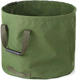 33 Gallon Garden Waste Bags Heavy Duty with Handles,Collapsible Green Leaf Bag with Military Canvas Fabric (H18 in, D22 in)