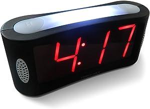 صفحه اصلی Travelwey LED Clock-Outlet، بدون عملیات ساده Frills، نور شب بزرگ، هشدار بیهوده، تعویق، زوم دیجیتال روشنایی کامل، بزرگ سیاه قرمز D نمایش، سیاه