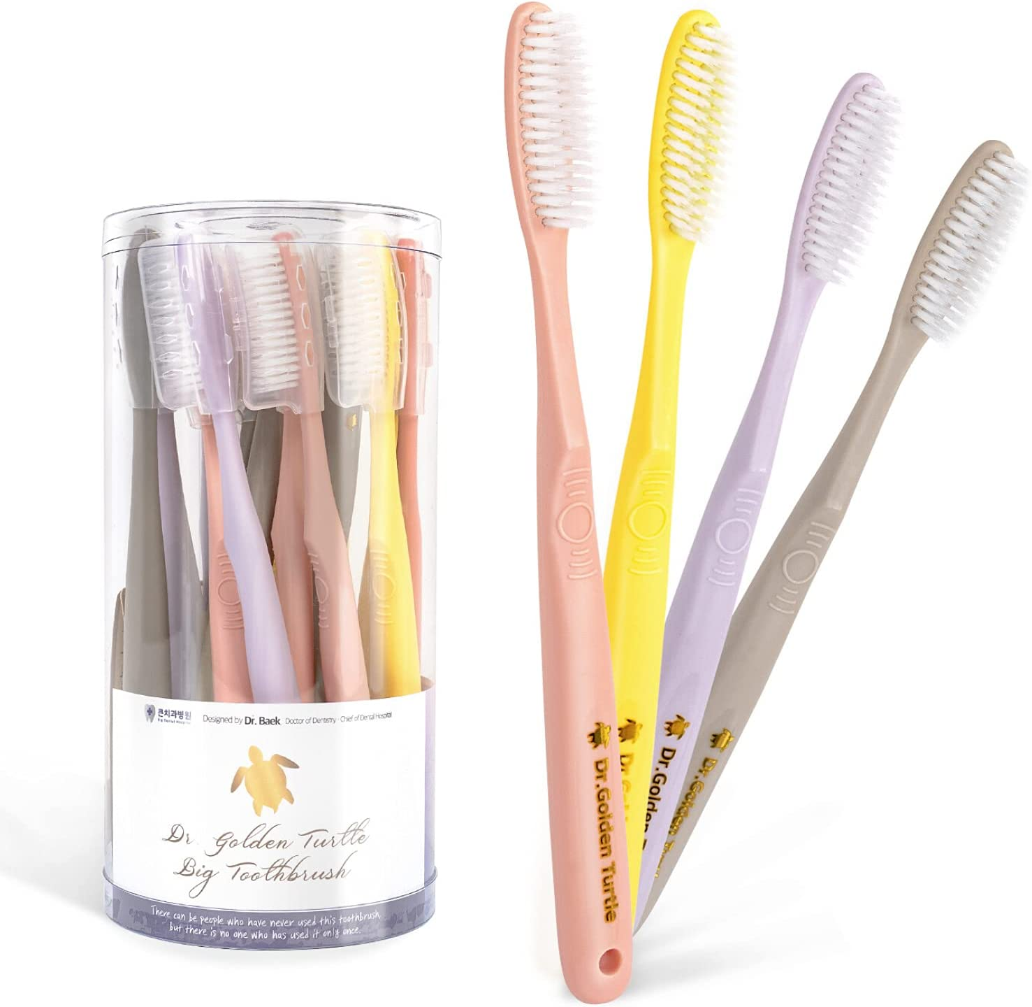 Dr.Golden Turtle Long Head Toothbrush 5 ☆ popular 16-Pack Recommended by Designed Dentis