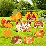 Huray Rayho 9PCS Thanksgiving Yard Signs with Stakes Turkey Yard Decorations Thanksgiving Outdoor Lawn Decor Pumpkin Garden Signs Yard Ornaments Cutouts Fall Backdrop Signs Supplies
