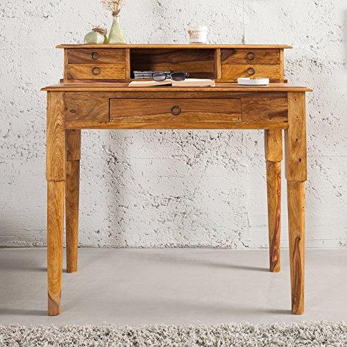 CAGÜ - SEKRETÄR & Schreibtisch [SATNA] mit 5 SCHUBLADEN aus SHEESHAM MASSIV Holz GEWACHST 90cm, NEU!