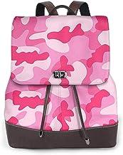SGSKJ Rucksack Damen Rosa Camouflage, Leder Rucksack Damen 13 Inch Laptop Rucksack Frauen Leder Schultasche Casual Daypack Schulrucksäcke Tasche Schulranzen
