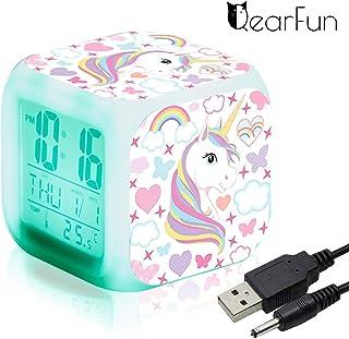 comprar comparacion Unicornio Relojes de alarma digitales para niñas, LED de noche que brilla intensamente Reloj LCD con luz para niños Desper...