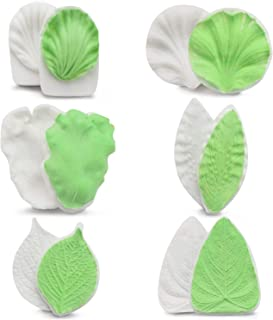 Fondant Molds Silicone, Beasea 6 sets Flower Gum Paste Tool, Gumpaste Flower and Leaf Veiner Silicone Mould Sugarcraft Making Tools for Wedding Cake Decorating, Chocolate, Sugar, Soap