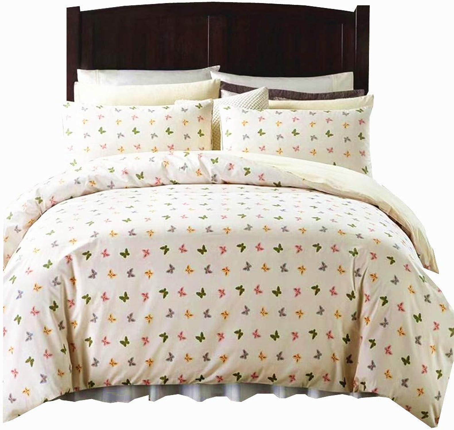 YIH Parure de lit en Coton 3 pièces avec Housse de Couette et 2 taies d'oreiller Motif Papillons Blanc, Blanc, Double
