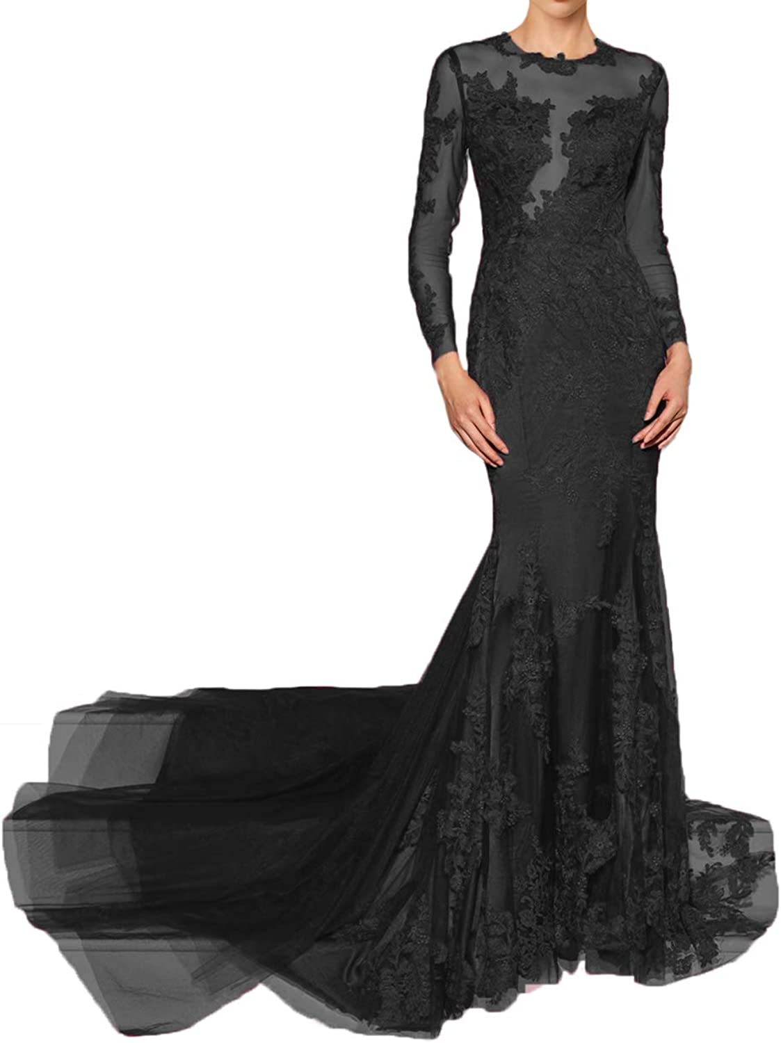 Alilith.Z Sexy Illusion Appliques Prom Dresses 2019 Mermaid Long Party Gowns Formal Evening Dresses for Women with Sleeves