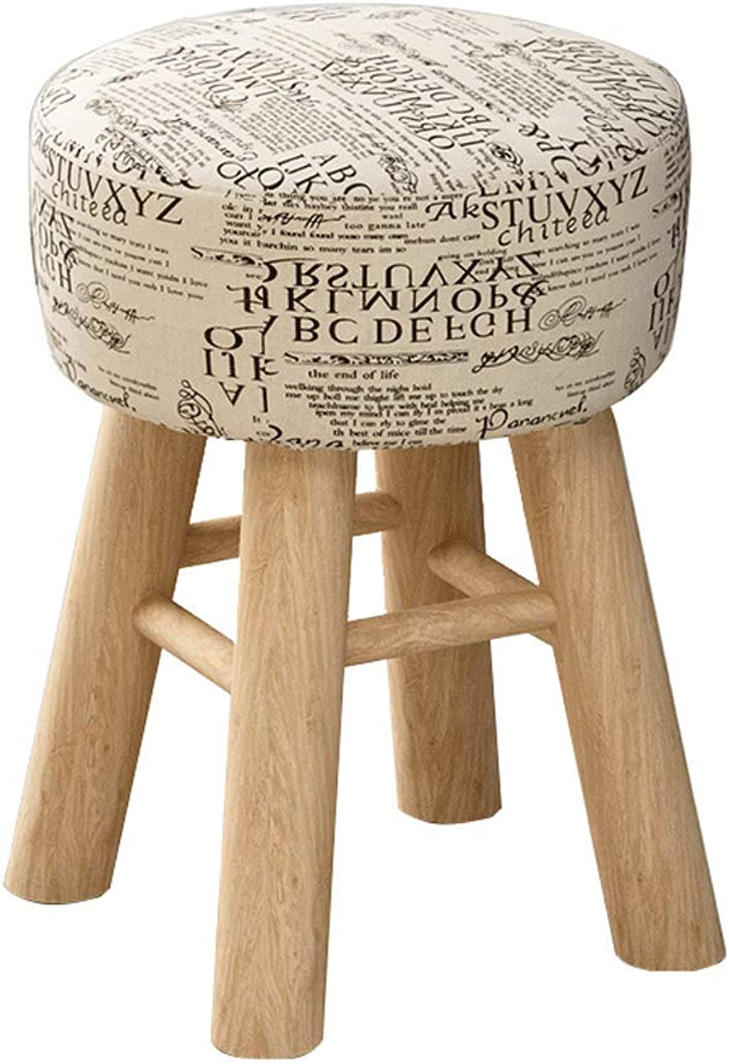 Round Stool,Footstool Wooden Leg,Modern Luxury Upholstered (color   A)