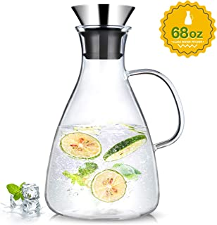 Sotya 68oz/2000ml Glass Drip-free Pitcher With Lid, Borosilicate Glass Carafe, Juice Pitcher For Homemade Beverage/Ice Tea/Milk/Coffee/Serving Wine