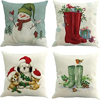 "Christmas Pillow Covers 4 Pack,BPFY Print Snowman,Christmas Tree,Christmas Deer,Santa Claus, Merry Christmas Decorative Sofa Throw Pillow Case Cushion Covers 20""x20"" Inch Cushion Cover 16X16in"
