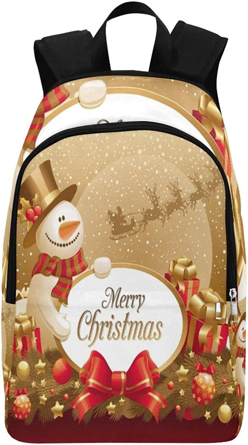 Christmas Snowman Gift Frame Casual Daypack Travel Bag College School Backpack for Mens and Women