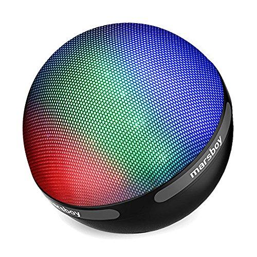 Relimi Farbe LED Design Bluetooth 4.1 Lautsprecher tragbar drahtlos mit TWS Funktion 7 Farbwechsel LED & 12-15 Stunden Wiedergabedauer für Handy, Laptop, PDA (Schwarz)