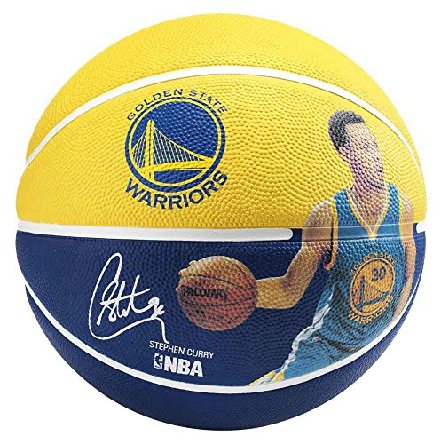 Spalding Erwachsene Ball NBA Player Stephen Curry 83-343Z Basketball, Gelb/Blau, 7