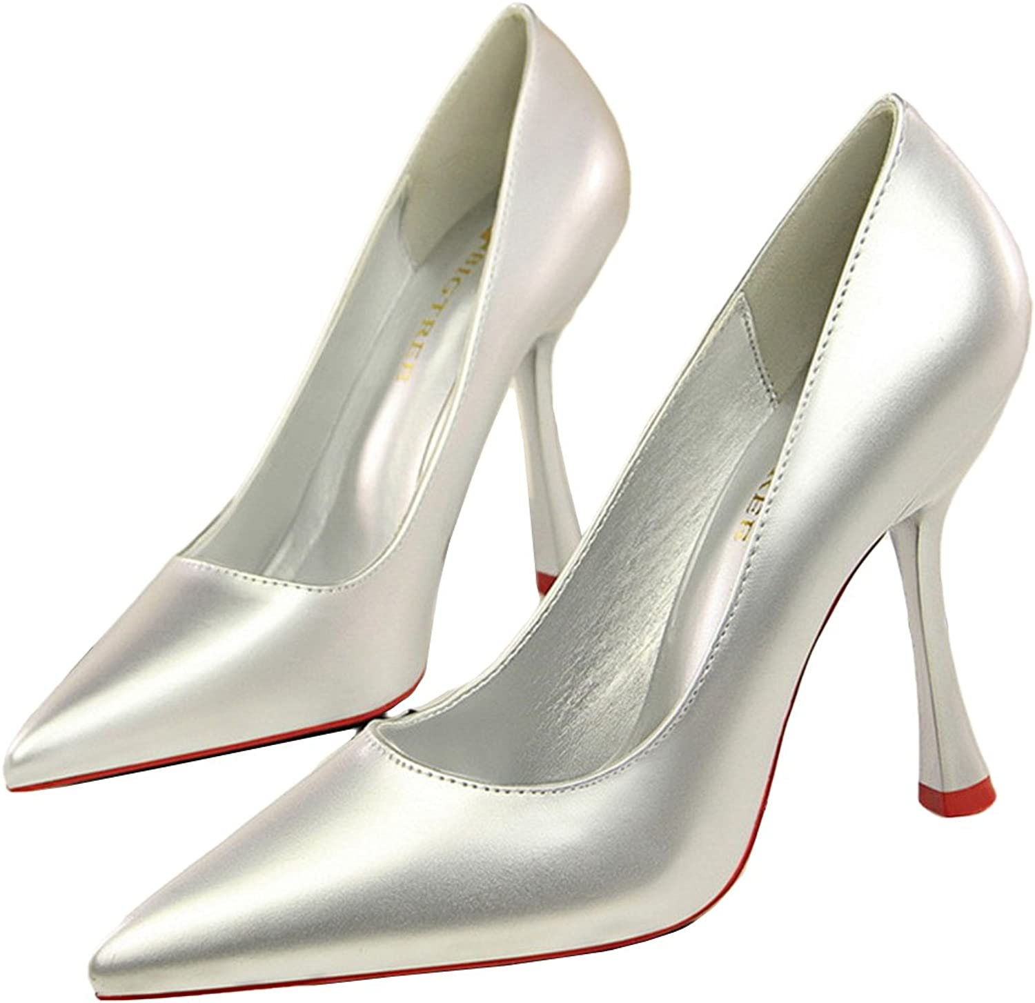 Owen Moll Women Pumps, Concise Patent Leather 10 cm Pointed Toe Shallow Work Sandal shoes
