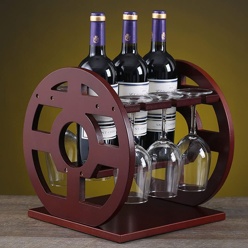 Botelleros Verticales Madera Estante Vino para 3 Botellas con 6 Soporte de Vidrio Pequeña Estanterias Mueble Vinoteca Armarios de Vino Bar Salon Rojo Marrón