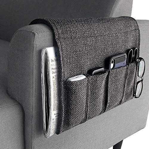 YJLWE Remote Storage Organizer for Recliner Couch Durable 5 Pockets Armchair Caddy Organizer for Sofa Non-Slip - Dark Grey
