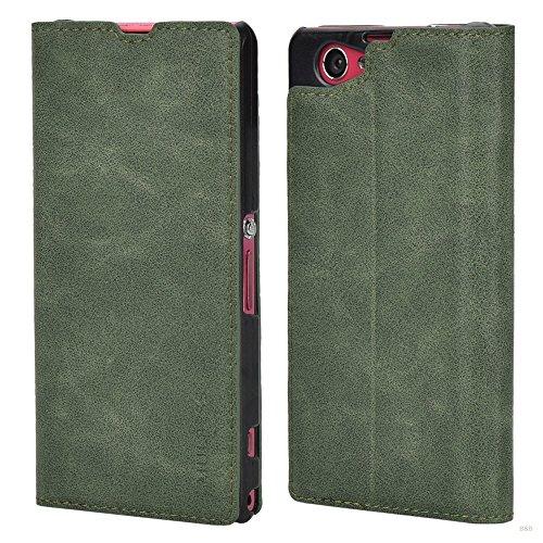 Mulbess Cover per Sony Xperia Z1 Compact, Custodia Pelle con Funzione Stand per Sony Xperia Z1 Compact [Slim Case], Verde