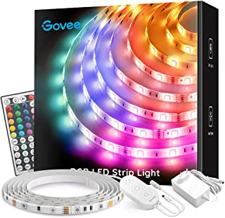 Govee LED Strip 5m, Wasserdicht, RGB LED Streifen, Farbwechsel, LED Lichterkette Band Leiste mit IR Fernbedienung, für Hau...