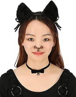 HDE Women's Cat Ear Headband and Choker Black Fur with Pink Inserts Ribbon Bow and Jingle Ball Neko Cosplay Costume Accessory