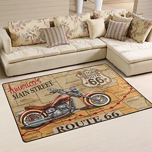 Use7 American Street Map Motorrad Teppich Anti-Rutsch-Fußmatte Fußmatten für Kinderzimmer, Wohnzimmer, Schlafzimmer, Textil, mehrfarbig, 100 x 150 cm(3' x 5' ft)