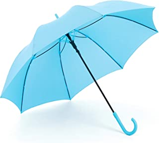 RUMBRELLA Blue Umbrella Auto Open with J Hook Handle, Windproof Stick Umbrellas