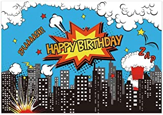 Allenjoy 7x5ft Superhero Theme Birthday Backdrop for Photography Super Hero City Skyline Buildings Mushroom Clouds Background Children Boys Party Banner Photo Booth Studio Props