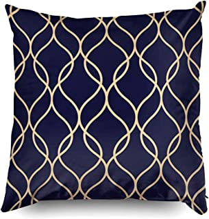 Shorping Zippered Covers Pillowcases 18X18 Inch Abstract Geometric Pattern Wavy Lines Background Gold Ornament Blue-Black Decorative Throw,Cushion Cover for Home Sofa Bedding